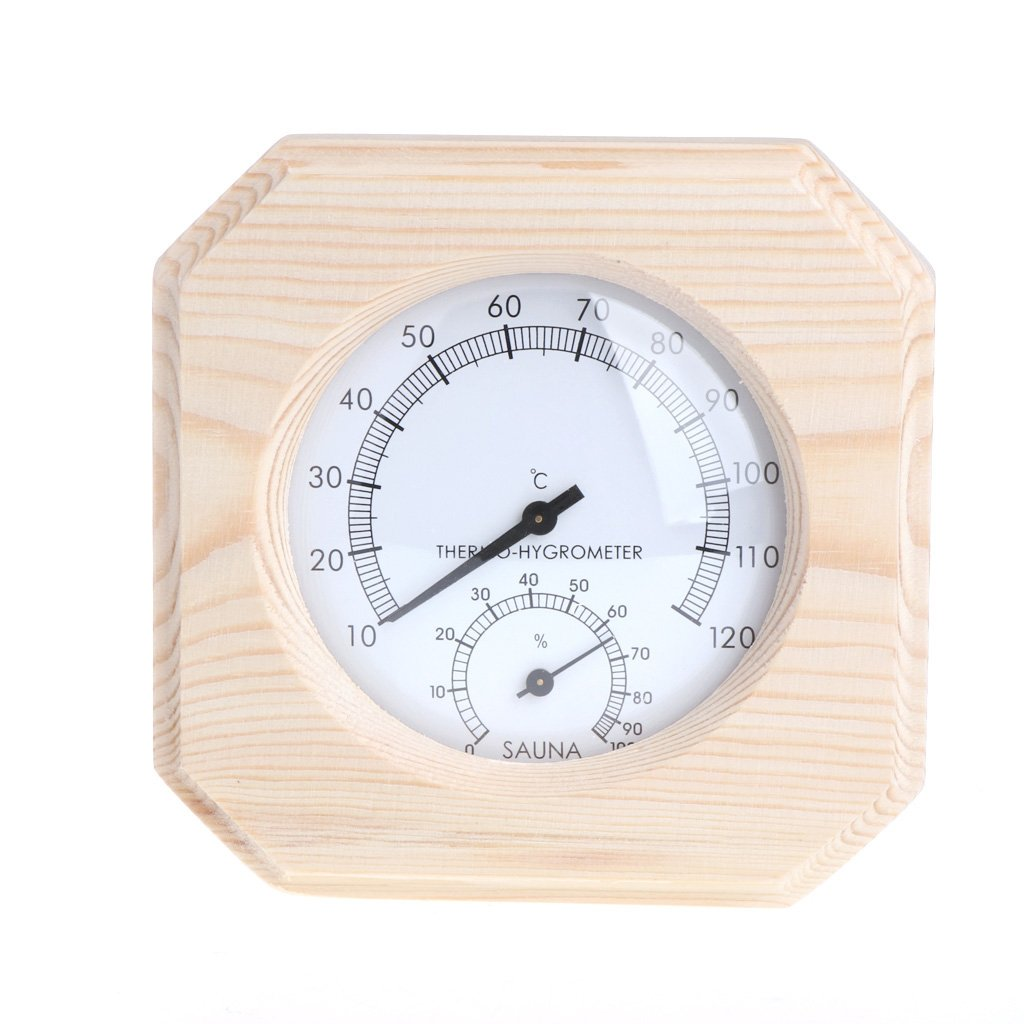 Sixsons Sauna Room Wood Thermometer Hygrometer Hygrothermograph Temperature Instrument (#021)