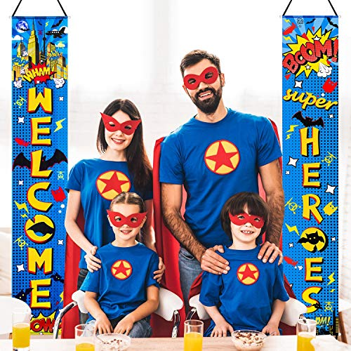 Super Hero Decorations (Hero Decorations Hero Backdrop Hero Porch Sign Banners Welcome Hanging Hero Super Decoration for Super Fun Hero Party Wall Decoration Door Action Door Sign (Blue)