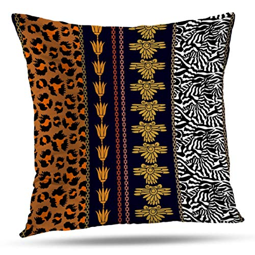 - ONELZ Bohemian Animal Throw Pillow Covers, Art Deco Silk Wallpaper with Bohemian Leopard and Zebra Double-Sided Cushion Cover 18 x 18 Inch Decorative Home Gift Bed Pillowcase