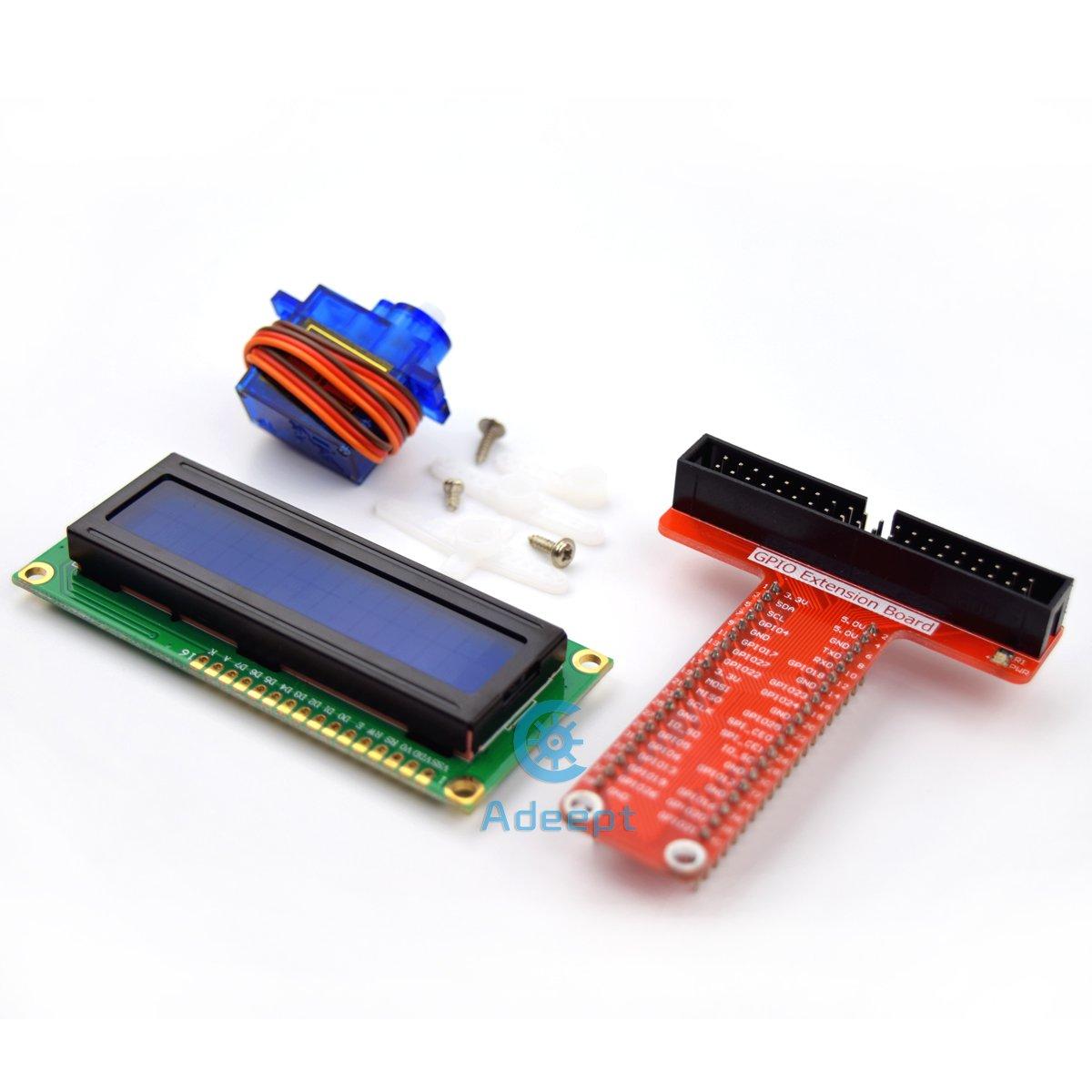 Adeept Super Starter Kit For Raspberry Pi 3 2 Model B Lcd1602 Wiringpi Blink C Servo Motor And Python Code Beginner With User Manual Guidebook