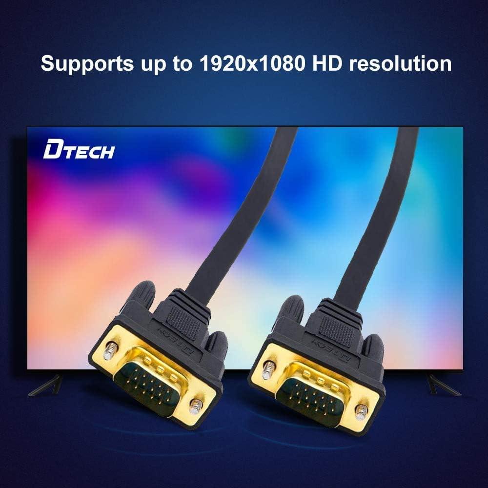 Cavo VGA ultra sottile da 5 m a 15 pin maschio a maschio placcato oro SVGA PC proiettore HDTV cavo portatile nero DTECH