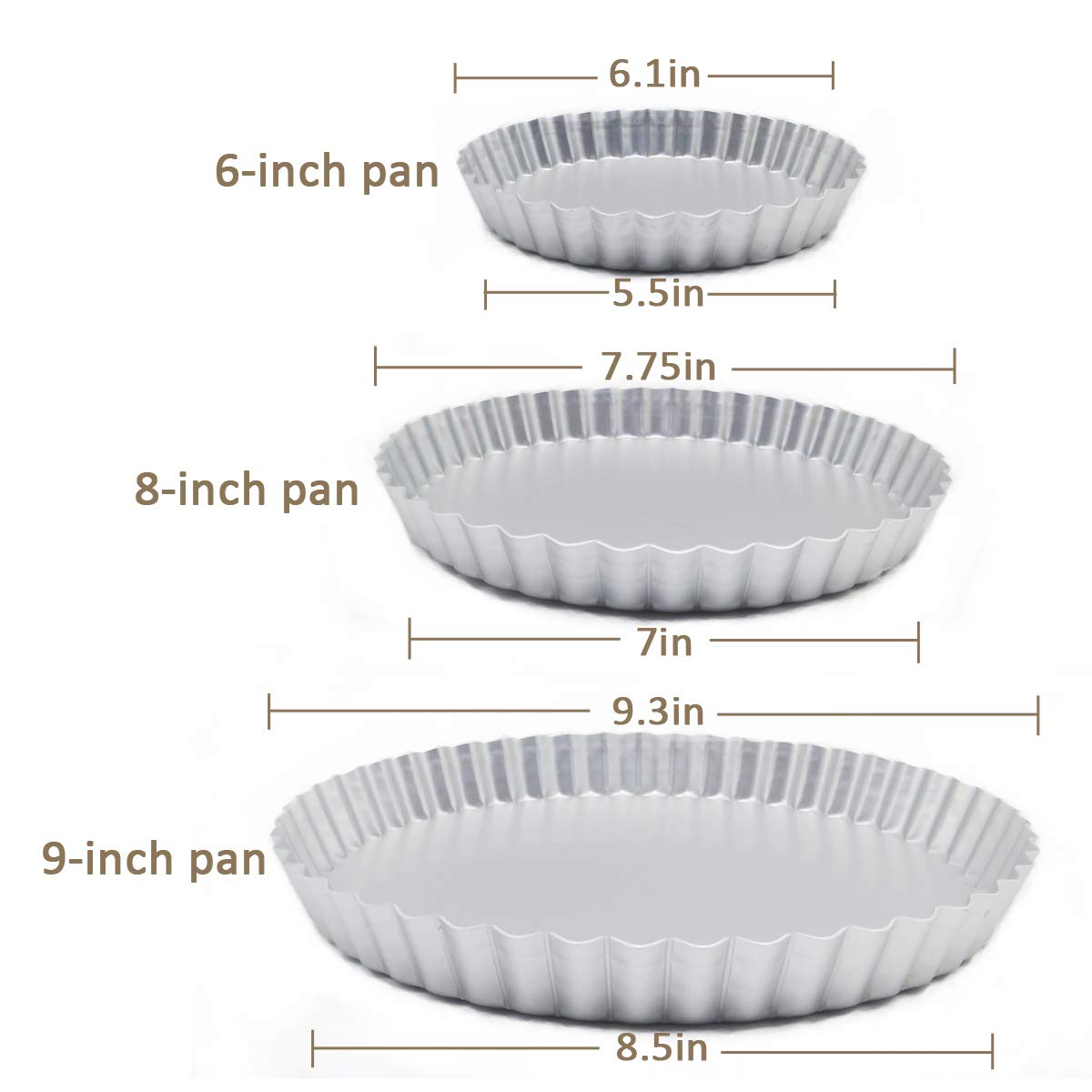 3 Pack(6, 8, 9 Inch) Tart Pan and Quiche Pan, Non-Stick Pan with Removable Base Bottom (Silver Color) by Brightalk (Image #2)