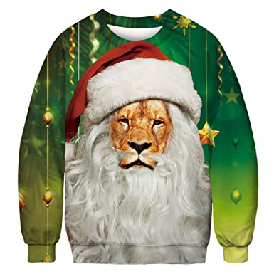 NAYINLAN Unisex 3D Ugly Christmas Print Crew Neck Sweatshirts Long Sleeve Pullovers Tops at Amazon Mens Clothing store: