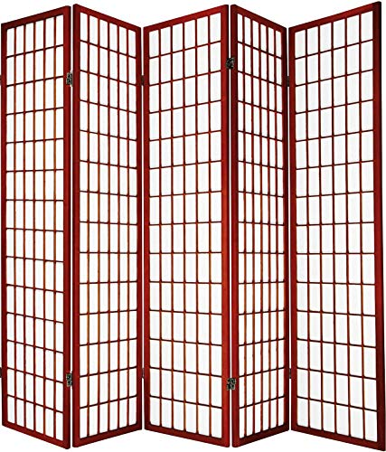 - Legacy Decor Japanese Oriental Style Room Screen Divider Black, Cherry, Natural, Espresso or White Color (5 Panel, Cherry)