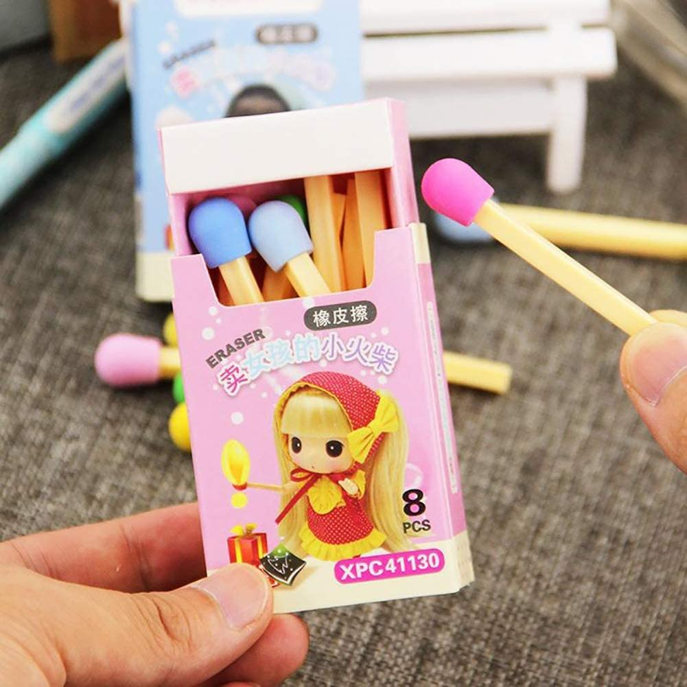 balloonbobo 8 Pcs Creative Matches Erasers Novelty Small Size Rubber Eraser Kids Children Students Gifts Stationery Random Color