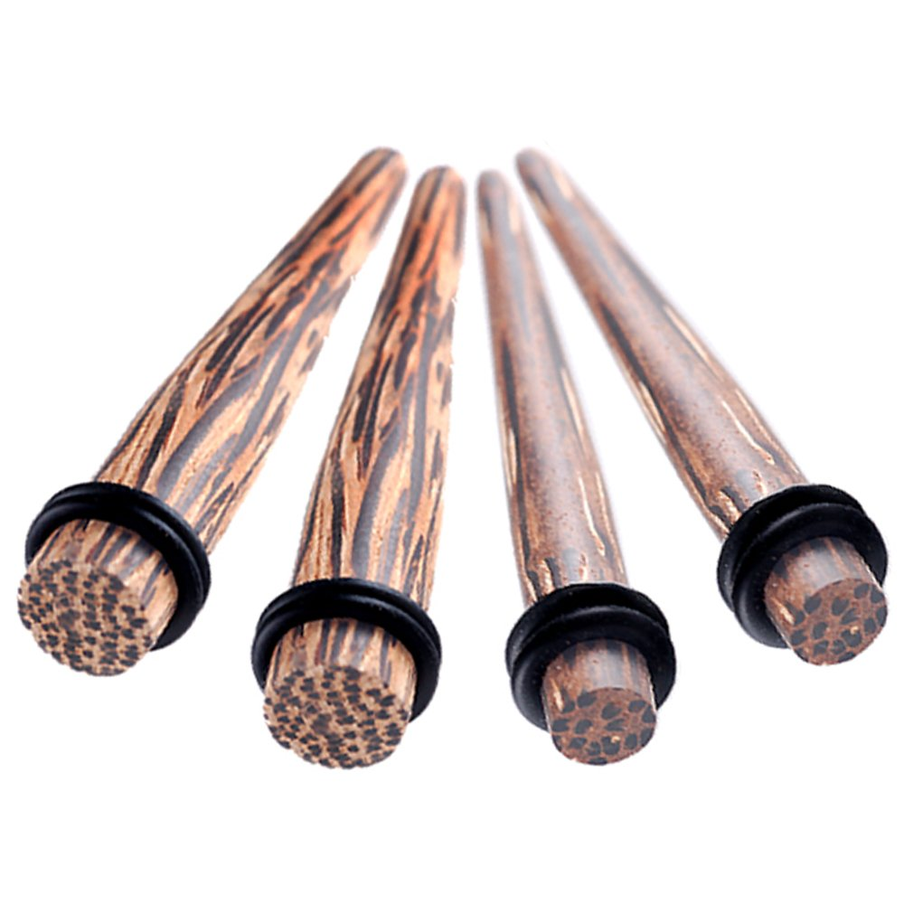 4Pcs 2g 2 gauge 6mm 0g 0 gauge 8mm Tapers Palm Wood Ear s Stretching Plugs ANHS Piercing