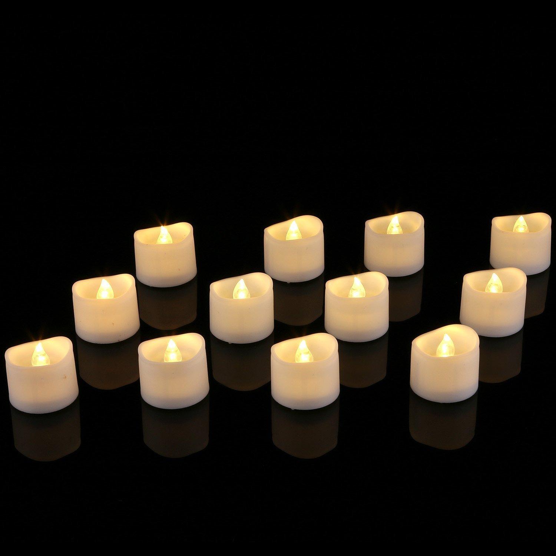 led votivkerzen warme wei/ße Homemory 12 led flammenlose kerzen 3.8cm elektrische flackernde batteriebetriebene teelichter