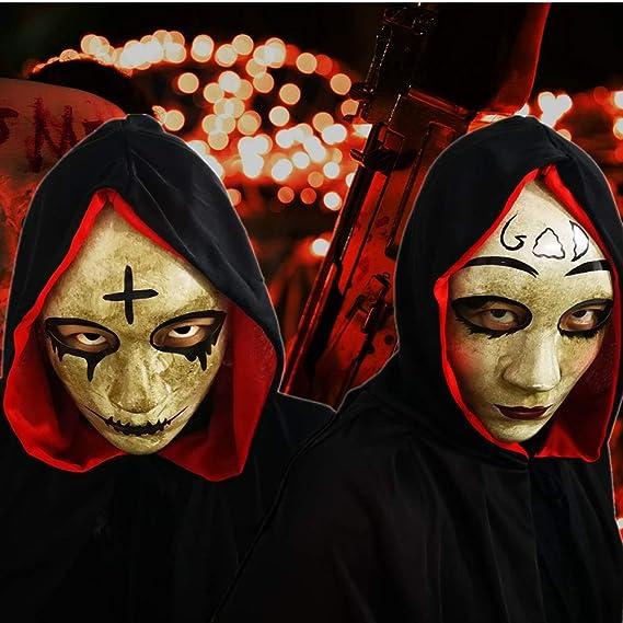 CCUFO Máscara Cruzada y máscara de Dios para Disfraz de Halloween, máscara de Pareja, máscara de Purga de Horror y película de Purga anarquía, para ...