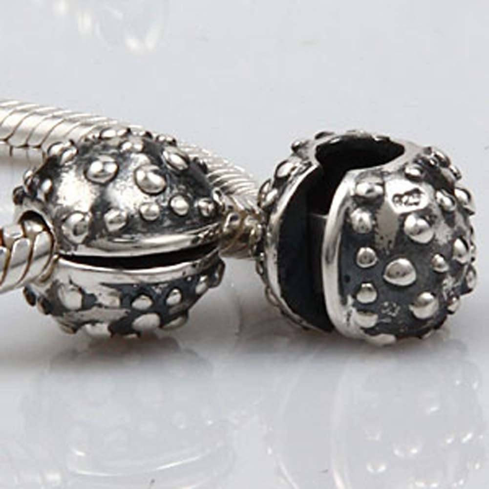 Clip Stopper Charms 925 Sterling Silver Round Beads Clip Lock Stoppers Charm for Bracelet C