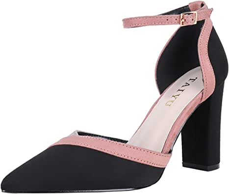High Heel Shoes For Women Black&Pink Closed Toe Heel Height 3.5 inch
