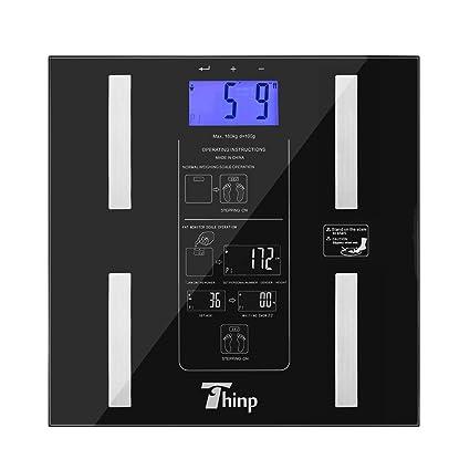 Thinp ® Báscula digital electrónico de vidrio 6-180 kg, medir el peso,