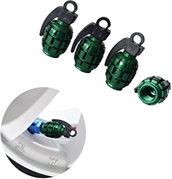 Blue Grenade Bomb Style Alloy Car Wheel Tire Tyre Valve Dust Caps Covers Tire Set of 4