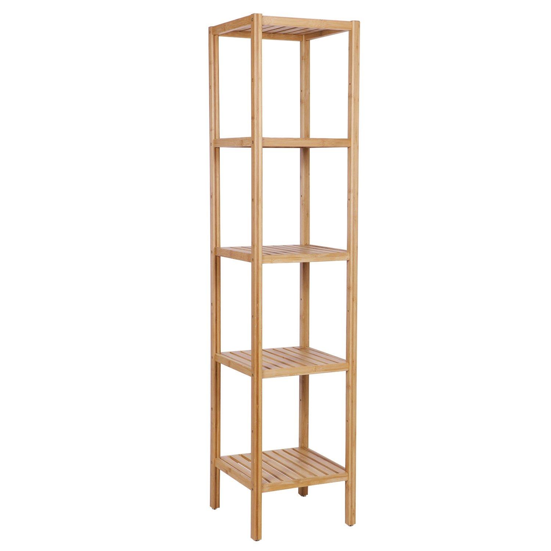Amazoncom Bewishome Bamboo Bathroom Shelf 5 Tier Diy Adjustable Multifunctional