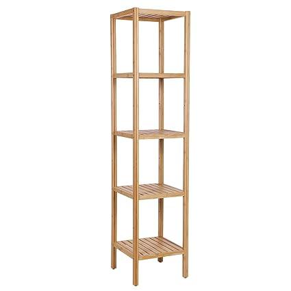 Amazon.com: BEWISHOME Bamboo Bathroom Shelf,5 Tier DIY Utility ...