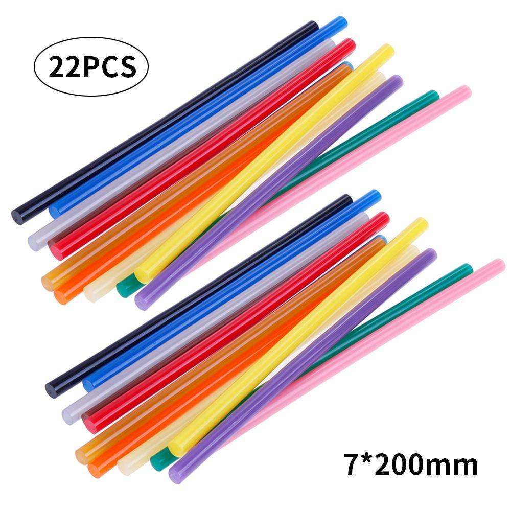 Fai da Te riparazioni Generali Diametro 7 mm 11 Mm X 11pcs progetti creativi Bastoncini di Colla a Caldo Colorati 22 Pezzi Mini Stick di Colla a Caldo per Artigianato Womdee