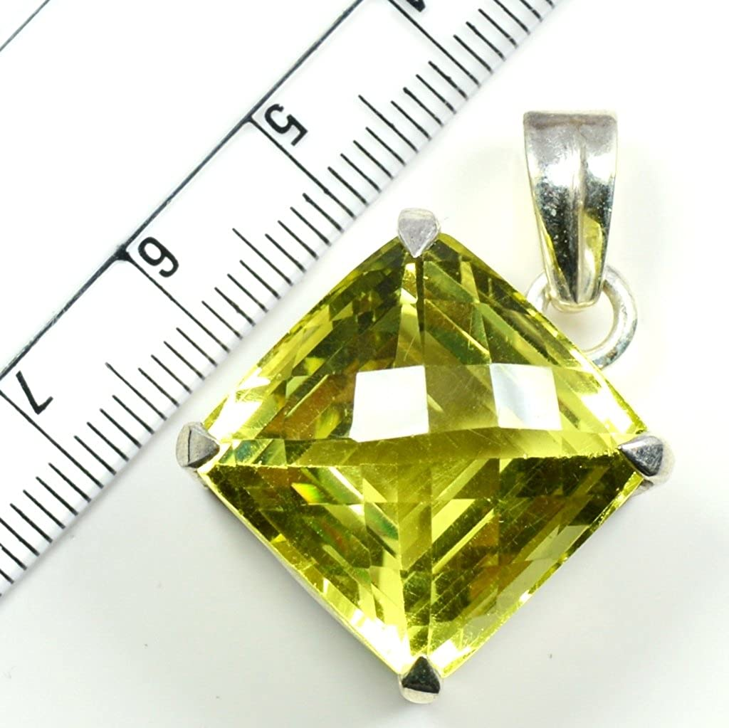 Jewelryonclick Faceted Real Lemon Quartz Pendants Prong Setting Sterling Silver Handmade Fashion Jewelry