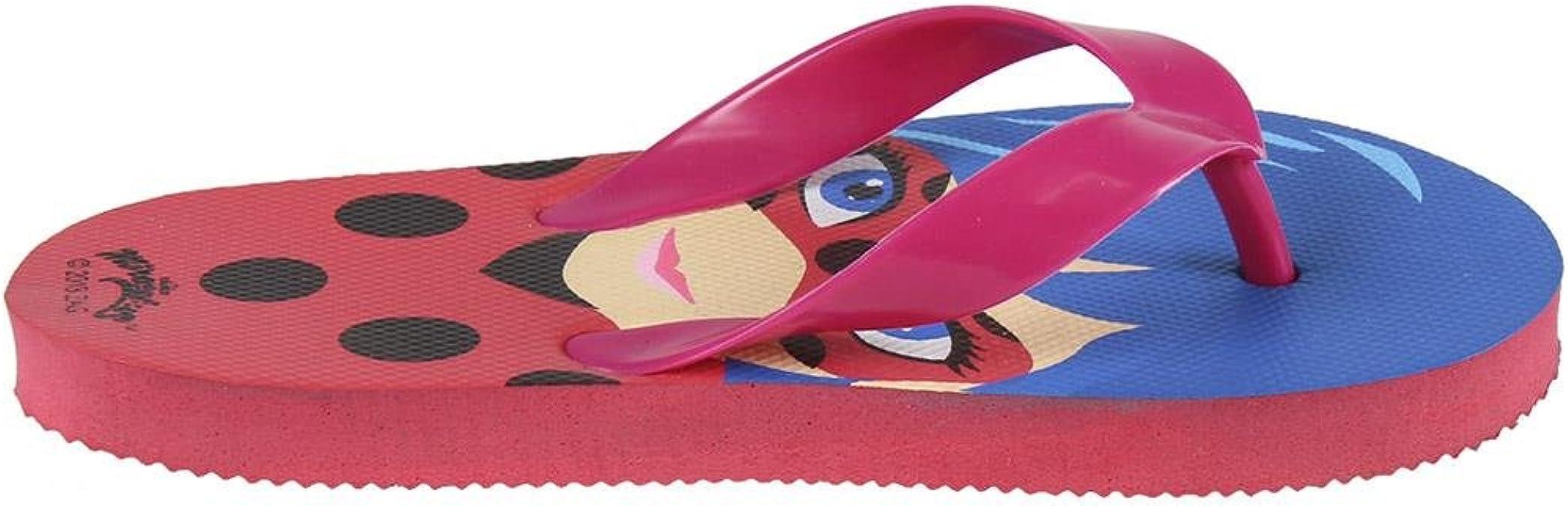 Rouge Fille Miraculous Flip Flop les Aventures de Ladybug et Chat Noir 2300002993 Tongs 28//29