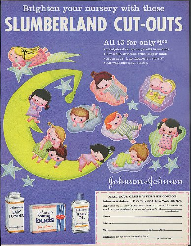 johnson-johnson-baby-powder-slumberland-cut-outs-for-the-nursery-offer-ad-1960