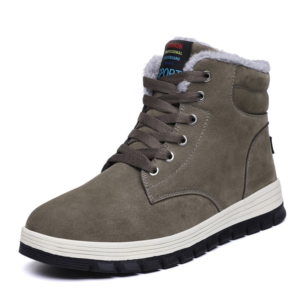 Aliwendy Mens Winter Snow Boots Fur Lined Waterproof Warm Sneaker Non-Slip High Top Outdoor Shoes (Gray 8D(M) US)