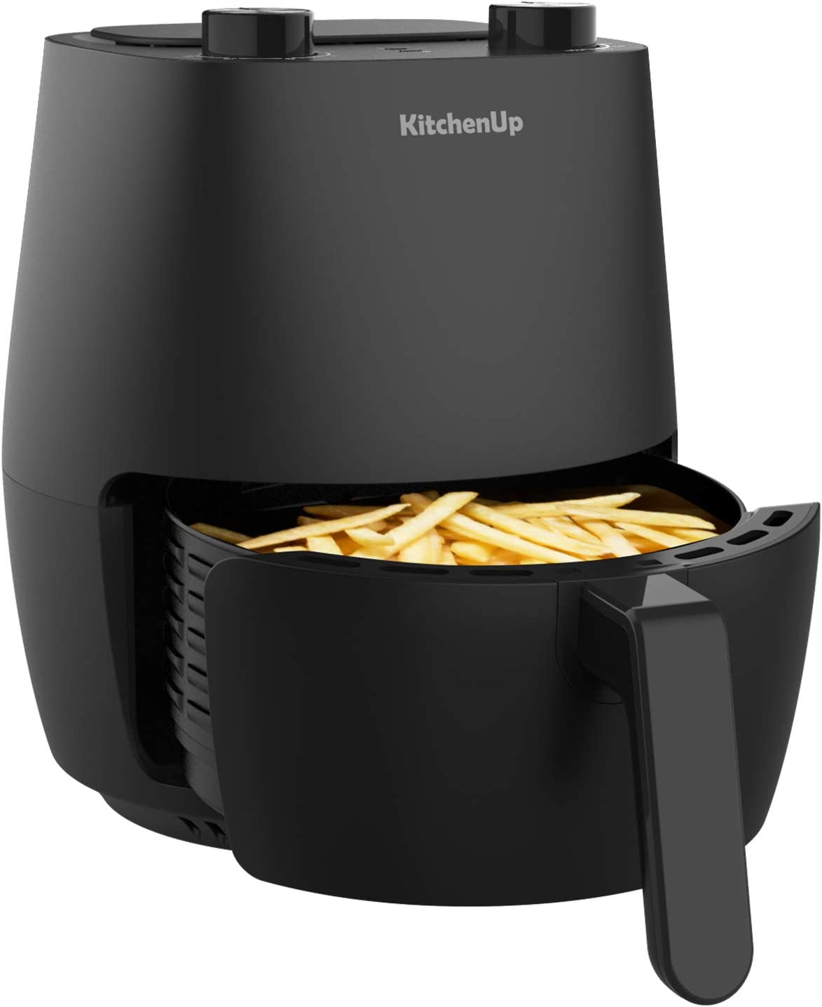 KitchenUp 3.7 Quarts Mini Air Fryer AFM09B Toaster, 1200W Electric Hot Oven and Oilless Cooker with Easy Use Knobs for Roasting, L, Black