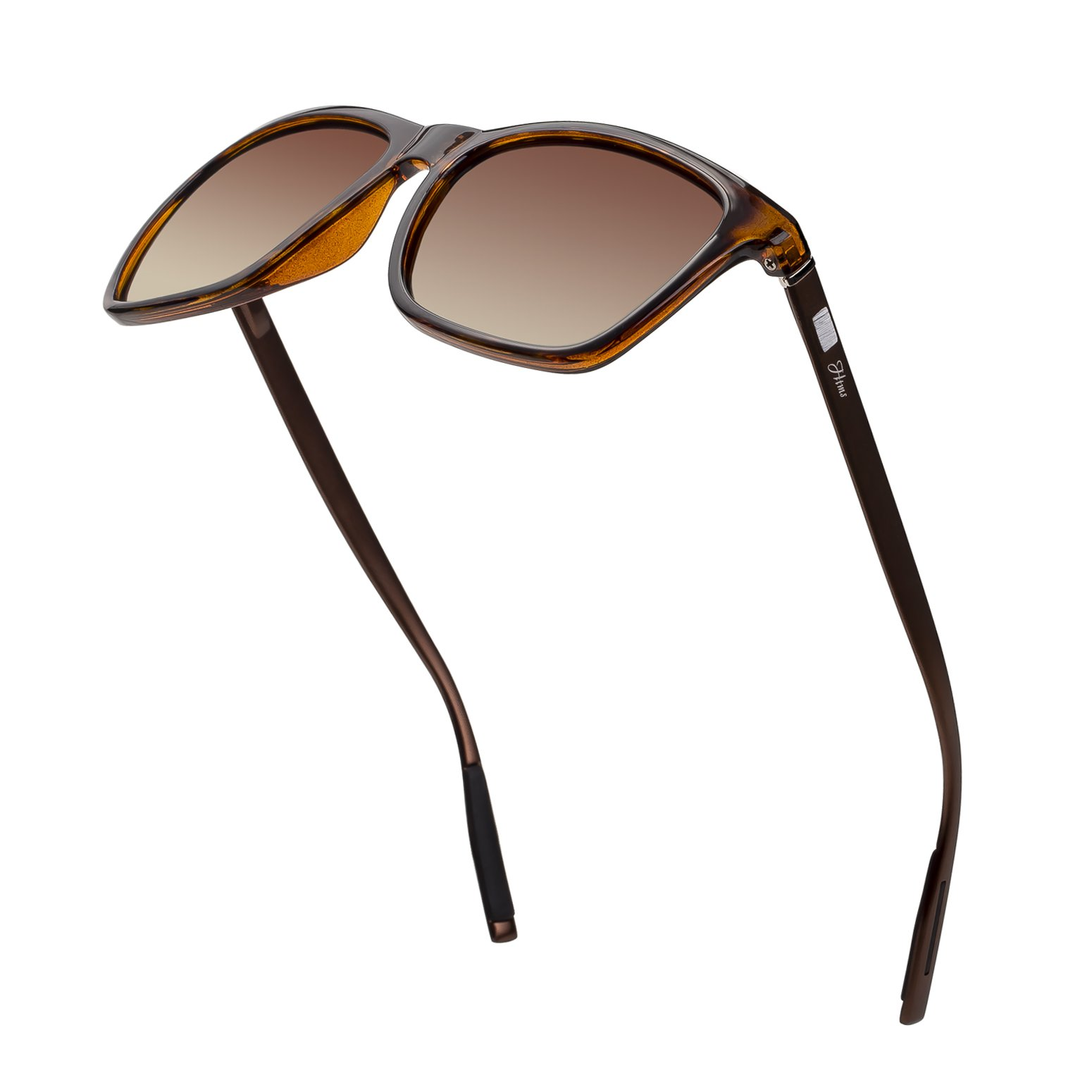 Square Aluminum Magnesium Frame Polarized Sunglasses Vintage Spring Temple Sun Glasses Men Women Retro Driving Eyewear UV400 (Brown Lens/Leopard Frame)