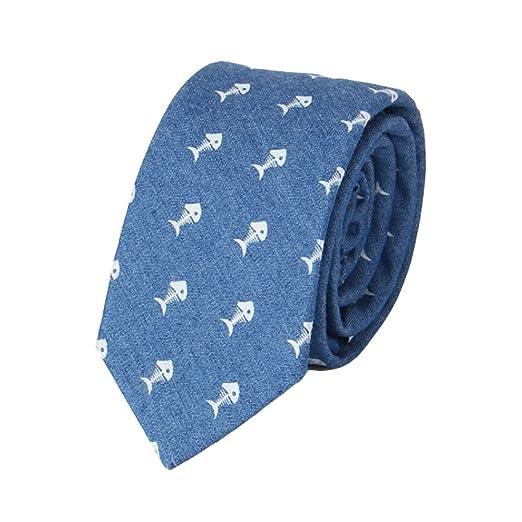 Neckchiefs Corbata Hombre Corbata Azul Marino Estampado Pescado ...