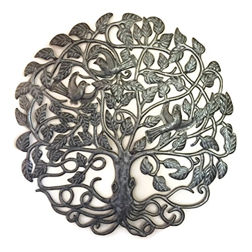 Cheap Large Metal Tree of Life, Wall Hanging Sculpture from Haiti, No Machines Used, Handmade, Home Decor 32″ Round