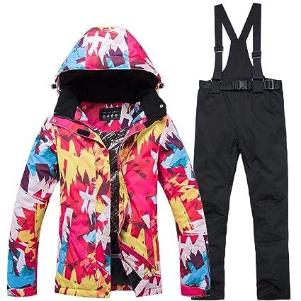 Conjunto de pantalones de chaqueta de esquí para mujer traje ...