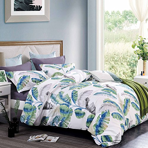 Wake In Cloud - Tropical Duvet Cover Set, 100% Cotton Bedding, Banana Tree Leaves Botanical Pattern in Green Blue and Gray Grey Printed on White, with Zipper Closure (3pcs, Queen ()