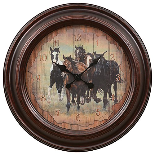 Black Forest Decor Running Horses Large Wall Clock ()
