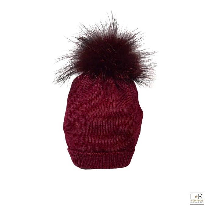 scopri le ultime tendenze vasto assortimento allacciarsi dentro CREAZIONI LUANA Cappello in Lana con Pon-Pon in Volpe ...