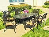 Nevada 7-Piece Cast Aluminum Patio Dining Set, 6 Stationary Chairs