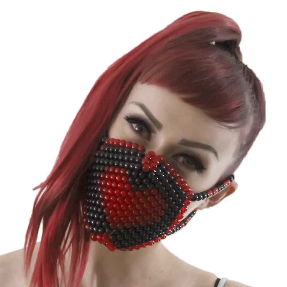 Red and Black Heart Kandi Mask by Kandi Gear