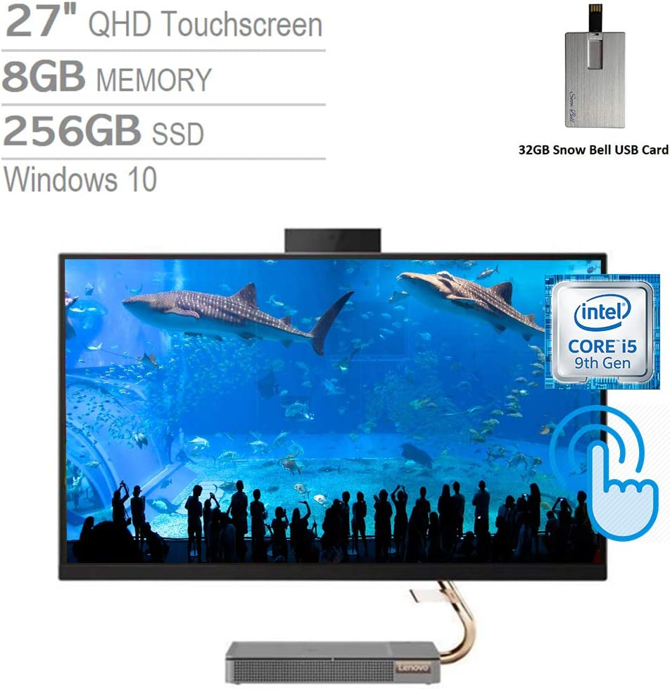 """2020 Lenovo IdeaCentre A540 27"""" QHD IPS Touch All-in-One Desktop Computer, Intel Core i5-9400T, 8GB RAM, 256GB SSD, Intel UHD Graphics 630, Dolby Audio, HD Webcam, Win 10, Grey, 32GB USB Card"""