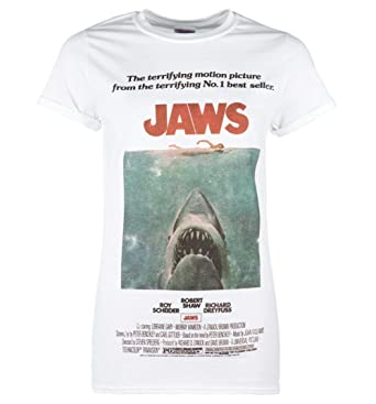 9ab6692a Womens White Jaws Movie Poster Boyfriend T Shirt: Amazon.co.uk: Clothing