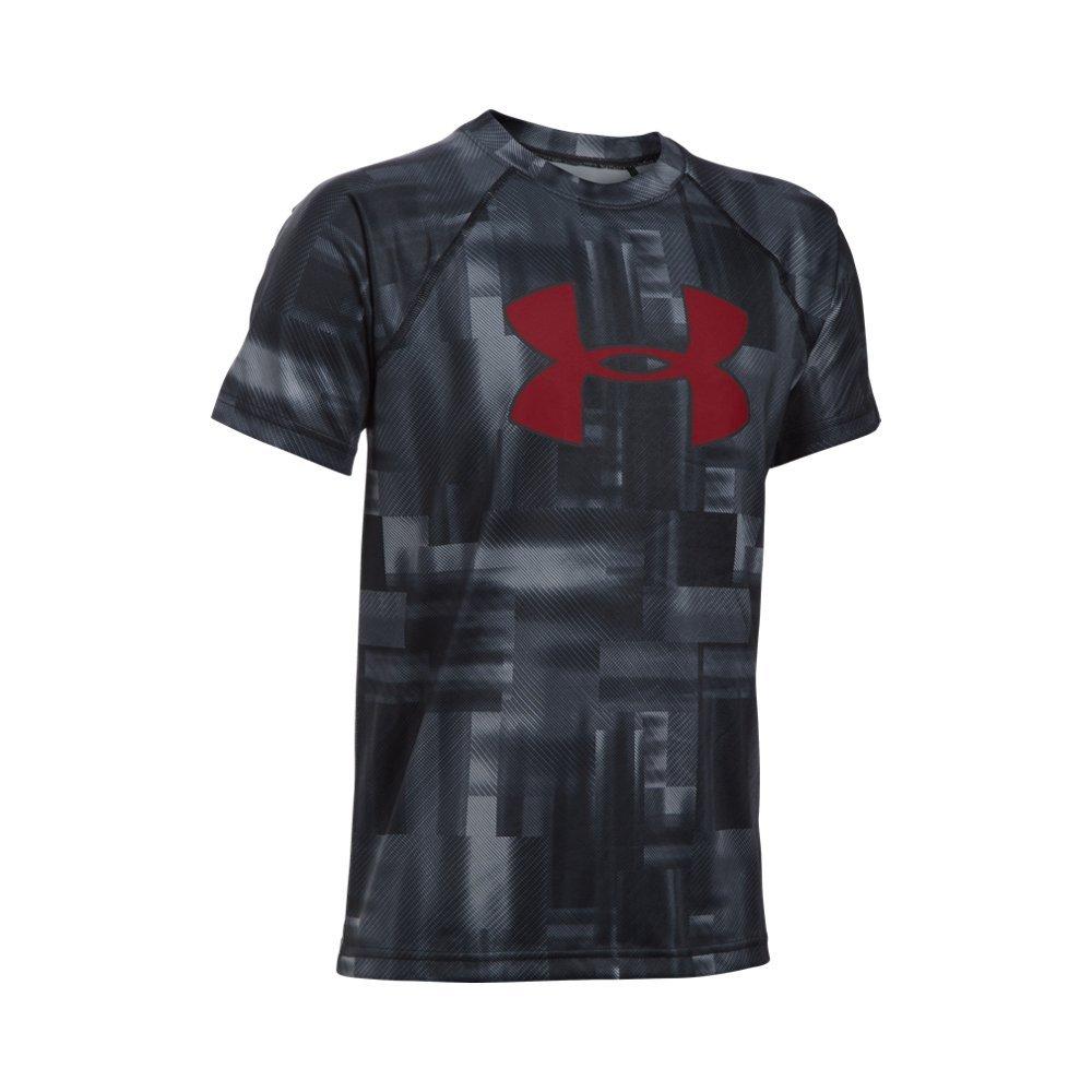 Under Armour Boys' Tech Big Logo Printed Short Sleeve T-Shirt, Black/Black, Youth X-Small