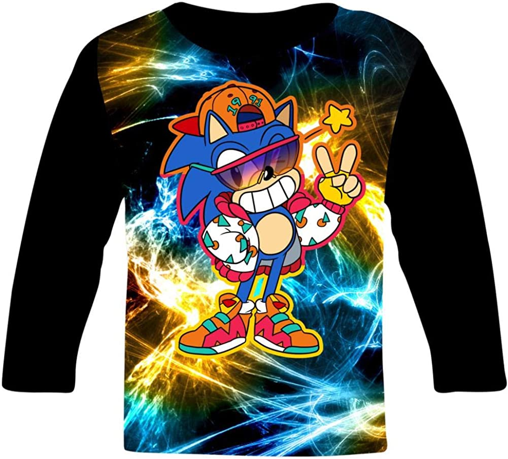 Holiday Son-Ic Riders Zero G-ravity Kids T-Shirts Long Sleeve Tees Fashion Tops for Boys//Girls