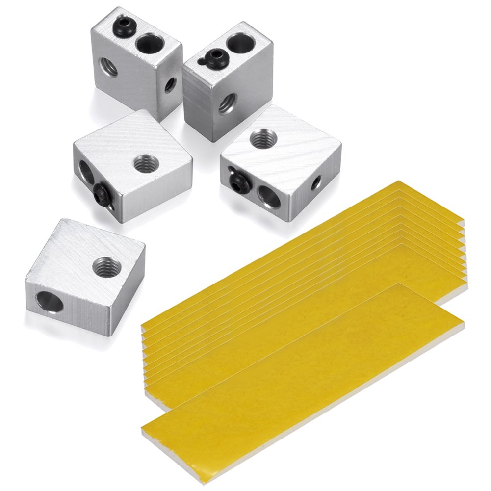 PChero 5pcs Aluminum Extruder Hotend Nozzle Throat Heater Block with 10pcs 2mm Thick Heat-Insulated Cotton, for MK7 MK8 Makerbot 3D Printer iS010