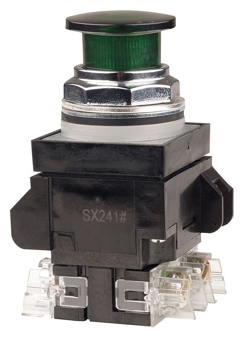 GE Illum Push Button 1NO//1NC General Electric - 104PBL11G5S2 30mm Green