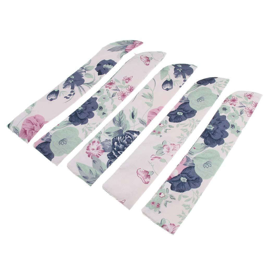 F Fityle 5 Pcs Custodia Proteggi Tasca Ventilatore Cinese Accessorio Moda Per Ventaglio Pieghevole 23,5 centimetri Fiore blu