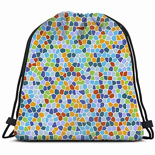 Mosaic Bright Colorful Drawstring Backpack Bag For Kids Boys Girls Teens Birthday, Gift String Bag Gym Cinch Sack For School And Party