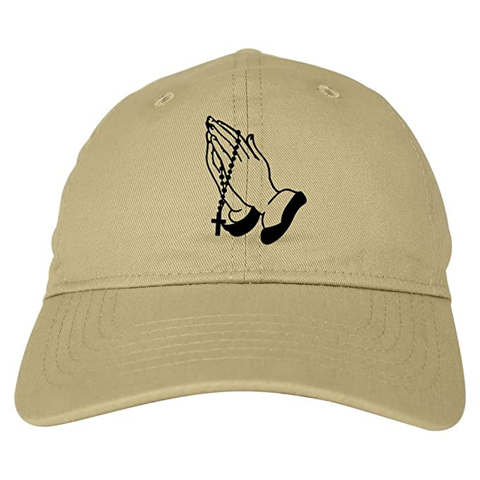 b609a5430b2b8 Kings Of NY Prayer Hands God Views 6 Panel Dad Cap Hat Beige at Amazon  Men s Clothing store