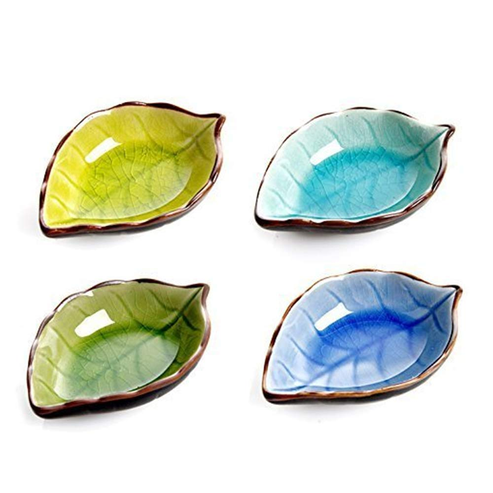 YJ Creative Leaf Ceramic Small Dish, Kitchen Multi-Purpose Seasoning Dish, Ice Cracked Glaze Seasoning Sauce Vinegar Dish, Sushi Dinnerware, Set of 4 by YJ
