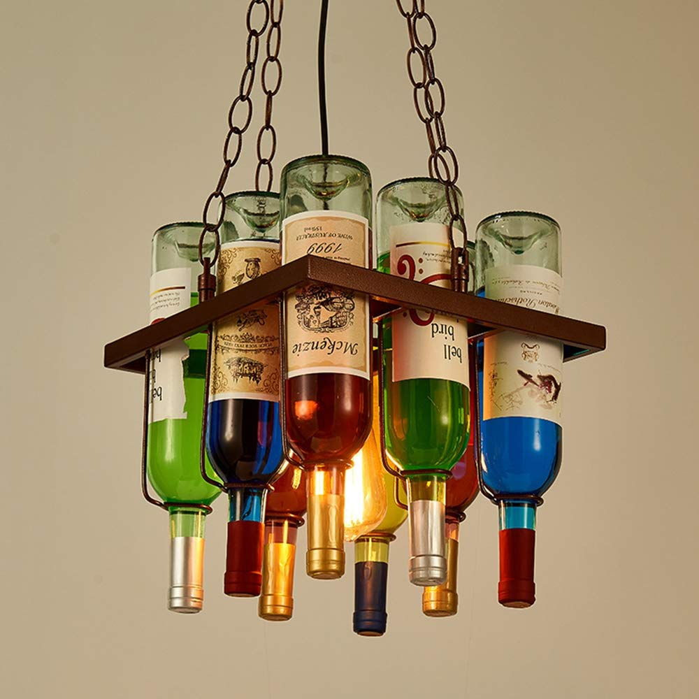 Wine Bottle Pendant Island Lighting Vintage Industrial Glass Chandelier Colorful Bottle Creative Hanging Lamp for Cafe Loft Restaurant Kitchen Bar Dining Room Bar Retro Adjustable Suspension,Square