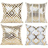 BLUETTEK Modern Vibrant Gold Foil Print Metallic Shiny Soft Pillow Covers Set for Bedroom, Living Room, Couch (Gold Geometry Set of 4)