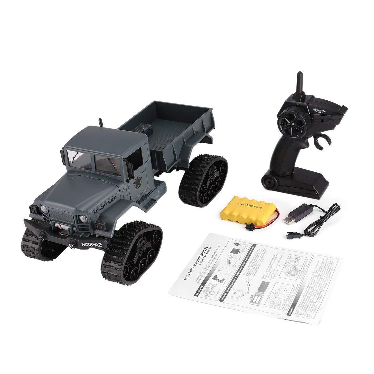 Gugutogo FY001B 2.4Ghz 1/16 4WD Oruga Off-Road RC camión Militar Sobre orugas Escalador del Coche de RC con la luz Delantera para los niños de Juguete de Regalo Gris