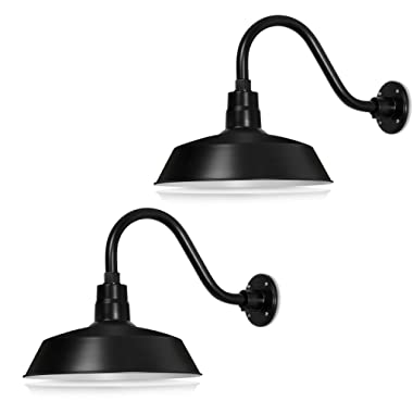 14in. Satin Black Outdoor Gooseneck Barn Light Fixture With 14.5 in. Long Extension Arm - Wall Sconce Farmhouse, Antique Style - UL Listed - 9W 900lm A19 LED Bulb (5000K Cool White) - 2-Pack