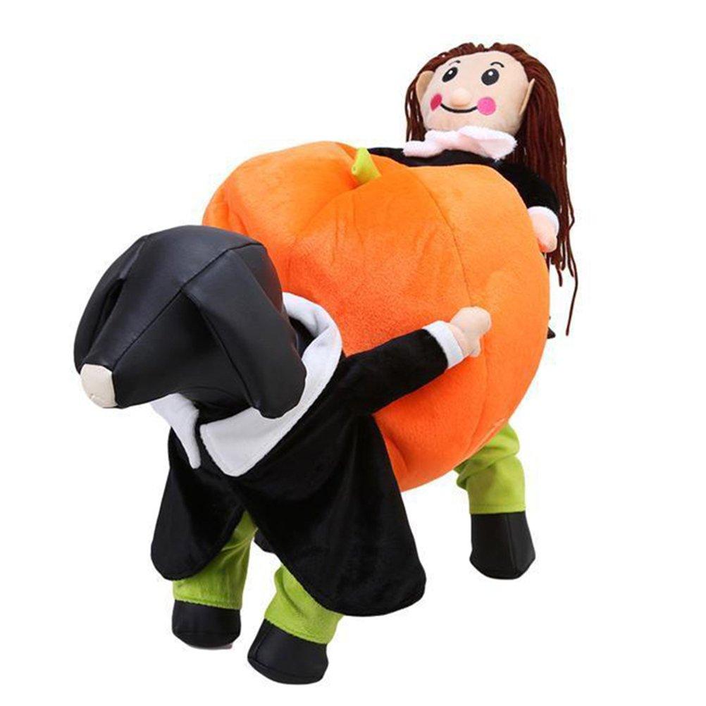 M(Back length 13.8 \ KASQA Funny Pet Dog Cat Clothes Carrying Pumpkin Costume Fancy Puppy Apparel Jacket (M(Back Length 13.8 ))