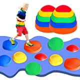 OMNISAFE Balance Stepping Stones Obstacle Course for Kids, Indoor & Outdoor Toy Helps Build Coordination & Strength, Non-Slip