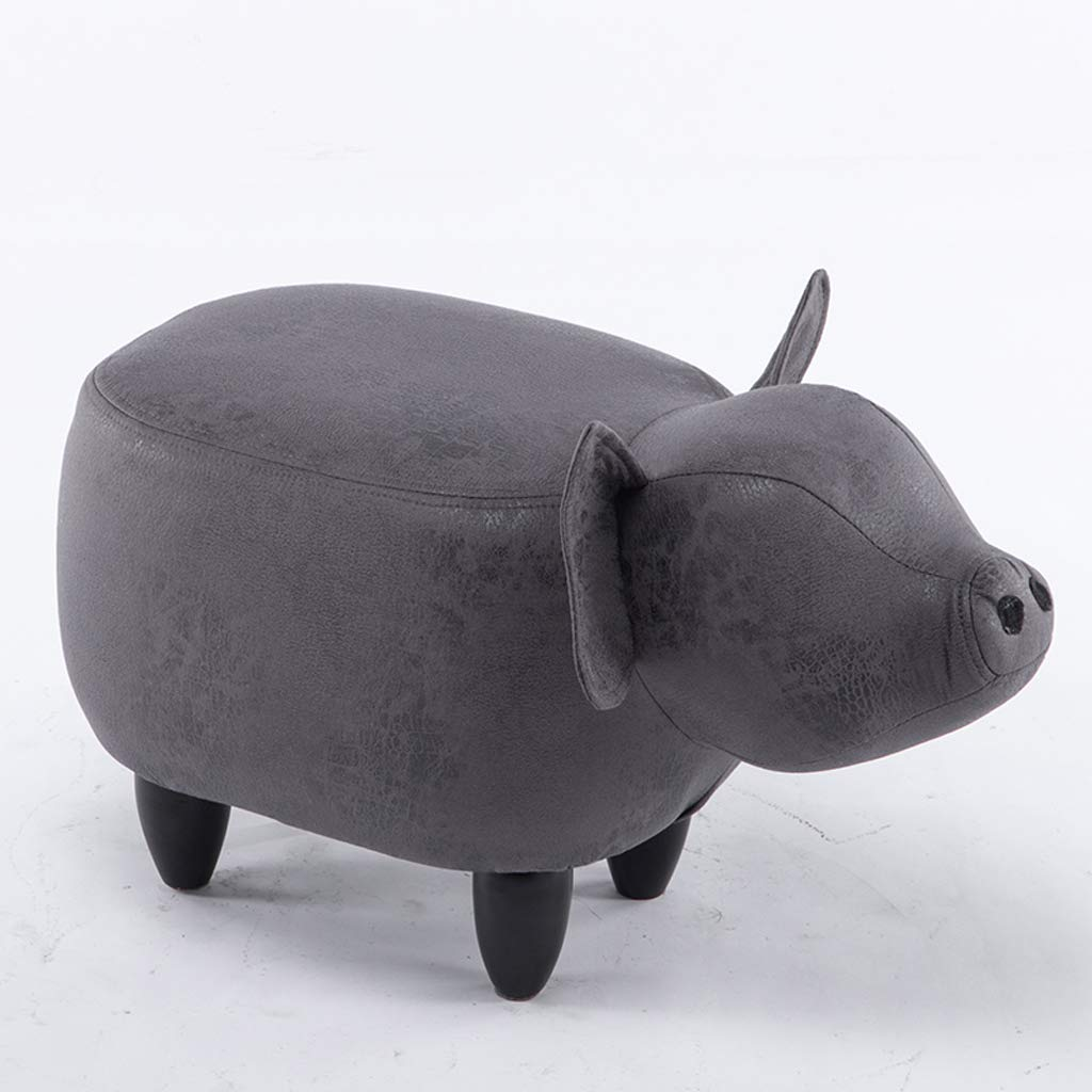 A Home Cartoon Stool Sofa Stool Dark Grey Pig Shape shoes Bench shoes Bench Cute Storage Stool Creative shoes Bench (color   B)